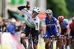 Edvald Boasson Hagen (NOR) Team Dimension Data sprints to victory at the end of Stage 1 of the Criterium du Dauphine 2019, running 142km from Aurillac to Jussac, France. 9th June 2019<br /> Picture: ASO/Alex Broadway | Cyclefile<br /> All photos usage must carry mandatory copyright credit (© Cyclefile | ASO/Alex Broadway)