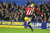 1st November 2017, St. Andrews Stadium, Birmingham, England; EFL Championship football, Birmingham City versus Brentford; Andreas Bjelland of Brentford hits a long pass