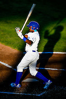Errol Robinson (9) of the Ogden Raptors at bat against the Orem Owlz in Pioneer League action at Lindquist Field on June 27, 2016 in Ogden, Utah. Orem defeated Ogden 4-3.  (Stephen Smith/Four Seam Images)