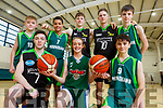 Mercy Mounthawk students, where 5 of their teams are contesting National Basketball Semi-finals.  <br />  Kneeling l-r, Philip Corkery (U19 Captain), Cora Savage (U16 girls) and Sean Rice (U14 Joint Captain).<br /> Back l-r, Eddie Sheehy (U15 Joint Captain), Jack Dakassia (U15 Joint Captain), Tim and Sean Pollmann-Daamen (U16 Captains) and Cian Moran (U14 Joint Captain).