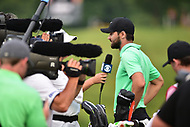 Bethesda, MD - July 2, 2017: Kyle Stanley interviews with CBS following his playoff victory against Charles Howell III <br /> during final round of professional play at the Quicken Loans National Tournament at TPC Potomac at Avenel Farm in Bethesda, MD.  (Photo by Phillip Peters/Media Images International)