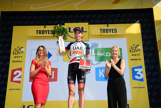 Vegard Stake Laengen (NOR) UAE Team Emirates wins the day's combativity award at the end of Stage 6 of the 104th edition of the Tour de France 2017, running 216km from Vesoul to Troyes, France. 6th July 2017.<br /> Picture: ASO/Alex Broadway | Cyclefile<br /> <br /> <br /> All photos usage must carry mandatory copyright credit (&copy; Cyclefile | ASO/Alex Broadway)