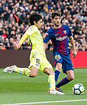 Sergi Roberto Carnicer of FC Barcelona (R) fights for the ball with Gaku Shibasaki of Getafe CF (L) during the La Liga 2017-18 match between FC Barcelona and Getafe FC at Camp Nou on 11 February 2018 in Barcelona, Spain. Photo by Vicens Gimenez / Power Sport Images