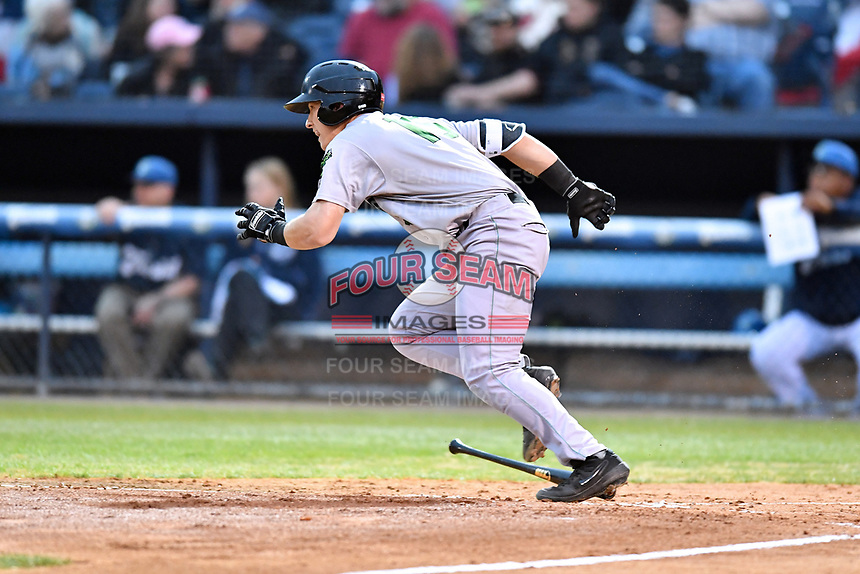 Augusta GreenJackets second baseman Shane Matheny (15) runs to first base during a game against the Asheville Tourists at McCormick Field on April 4, 2019 in Asheville, North Carolina. The GreenJackets defeated the Tourists 9-5. (Tony Farlow/Four Seam Images)