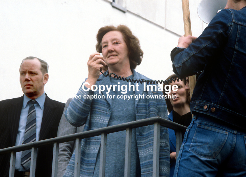 Mrs Rosaleen Sands, mother of Bobby Sands, addresses supporters after her son's Fermanagh and South Tyrone by-election victory. Bobby Sands was the leader of the Provisional IRA Anti H-Block hunger strikers. He died a few weeks later on 5th May 1981, still on hunger strike. Standing behind her mother is Marcella Sands. Man on the left is Aidan Corrigan, prominent member, N Ireland Civel Rights Association. Although not a member of Sinn Fein he was a high profile figure in the Bobby Sands election campaign. 198104100070S3..Copyright Image from Victor Patterson, 54 Dorchester Park, Belfast, United Kingdom, UK...For my Terms and Conditions of Use go to http://www.victorpatterson.com/Victor_Patterson/Terms_%26_Conditions.html
