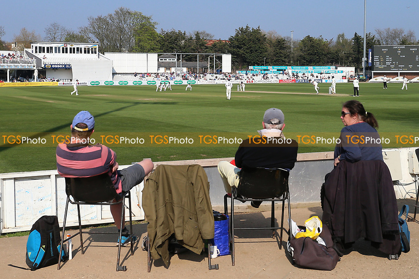 General view of play as spectators look on during Essex CCC vs Lancashire CCC, Specsavers County Championship Division 1 Cricket at The Cloudfm County Ground on 8th April 2017