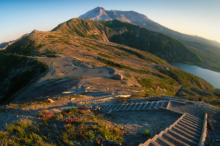 Sand Ladder at Windy Ridge Overlooking  Spirit Lake and Mt. St. Helens (Fisheye), Mt. St. Helens National Volcanic Monument, Washington, US