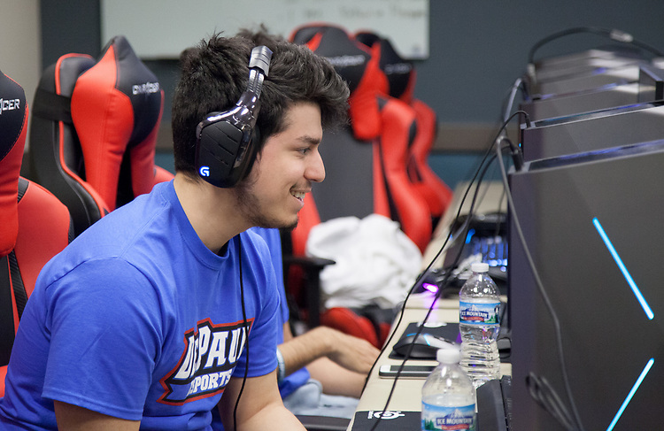 Esteban Perez, captain of the DePaul eSports Rocket League team, competes in the BIG EAST eSports Invitational, Saturday, April 7, 2018, and Sunday, April 8, at DePaul's new gaming center on the Loop Campus. The teams played both Rocket League and League of Legends in the tournament this past weekend. Captain of the Rocket League team, Esteban Perez, was present, guiding his team to victories against Butler University, Xavier University and Marquette University. (Photo by Katie Donovan/DePaul University)