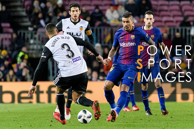 Paulinho Maciel of FC Barcelona (R) fights for the ball with Ruben Miguel Nunes of Valencia CF (L) during the Copa Del Rey 2017-18 match between FC Barcelona and Valencia CF at Camp Nou Stadium on 01 February 2018 in Barcelona, Spain. Photo by Vicens Gimenez / Power Sport Images