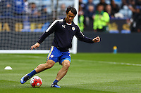 Shinji Okazaki of Leicester City warms up during the Barclays Premier League match between Leicester City and Swansea City played at The King Power Stadium, Leicester on 24th April 2016
