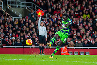 Bafetibi Gomis of Swansea City  is caught offside during the Barclays Premier League match between Arsenal and Swansea City at the Emirates Stadium, London, UK, Wednesday 02 March 2016