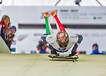 9 January 2016: Joseph Luk Cecchini, competing for Italy, pushes off for his first and only start of the BMW IBSF World Cup Skeleton race at the Olympic Sports Track in Lake Placid, New York, USA. Cecchini ended the day with a single run time of 56.17 for a 21st place overall finish and did not have a second run. Mandatory Credit: Ed Wolfstein Photo *** RAW (NEF) Image File Available ***