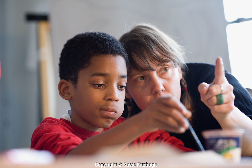 Lauren Atkinson helps a student learn to see in her visual arts class.