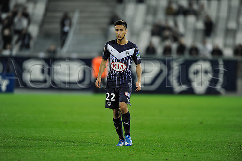 16.12.2015. Bordeaux, France. French League cup football from the Stade Chaban-Delmas. Bordeaux versus Monaco.  Adam Ounas (gir) watches the play