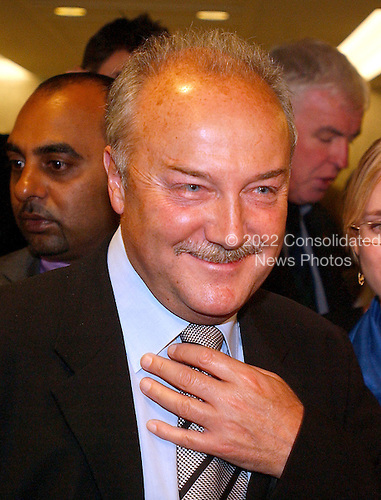 """Washington, D.C. - May 17, 2005 -- George Galloway , Member of Parliament for Bethnal Green and Bow , Great Britain, meets reporters after giving testimony before the United States Senate Committee on Homeland Security and Governmental Affairs Permanent Subcommittee on Investigations hearing on """"Oil For Influence: How Saddam Used Oil to Reward Politicians Under the United Nations Oil-for-Food Program"""" in Washington, D.C. on May 17, 2005.  .Credit: Ron Sachs / CNP"""
