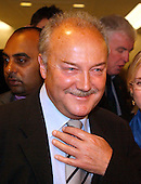 "Washington, D.C. - May 17, 2005 -- George Galloway , Member of Parliament for Bethnal Green and Bow , Great Britain, meets reporters after giving testimony before the United States Senate Committee on Homeland Security and Governmental Affairs Permanent Subcommittee on Investigations hearing on ""Oil For Influence: How Saddam Used Oil to Reward Politicians Under the United Nations Oil-for-Food Program"" in Washington, D.C. on May 17, 2005.  .Credit: Ron Sachs / CNP"