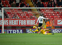Ben Amos of Charlton Athletic saves from Jack Marriott of Peterborough United during the Sky Bet League 1 match between Charlton Athletic and Peterborough at The Valley, London, England on 28 November 2017. Photo by Vince  Mignott / PRiME Media Images.