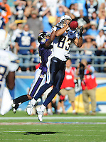 Sep. 20, 2009; San Diego, CA, USA; San Diego Chargers wide receiver (83) Vincent Jackson against the Baltimore Ravens at Qualcomm Stadium in San Diego. Baltimore defeated San Diego 31-26. Mandatory Credit: Mark J. Rebilas-