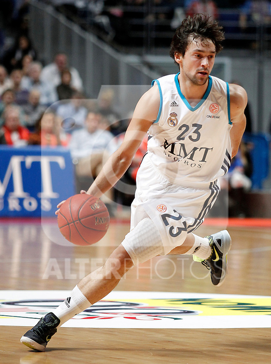 Real Madrid's Sergio Llull during Euroleague 2012/2013 match.November 23,2012. (ALTERPHOTOS/Acero)