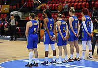 20200206 – OOSTENDE ,  BELGIUM : Swedish players pictured in a minute of silence during a basketball game between the national teams of Japan and Sweden on the first matchday of the FIBA Women's Qualifying Tournament 2020 , on Thursday 6  th February 2020 at the Versluys Dome in Oostende  , Belgium  .  PHOTO SPORTPIX.BE | DAVID CATRY