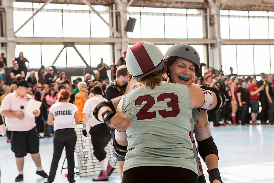 "The tenth seeded Sacred City Derby Girls from Sacramento defeated the eighth seeded Angel City (Los Angeles) Derby Girls 147-146 for seventh place at the 2012 Women's Flat Track Derby Association (WFTDA) Western Region Playoffs at Craneway Pavillion in Richmond, California on September 21-23. WFTDA, the international governing body of women's flat track roller derby, ""promotes and fosters the sport of women's flat track roller derby by facilitating the development of athletic ability, sportswomanship, and goodwill among member leagues."""