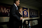 September 12, 2008. Cary, NC..  Responding to the highly contested race for the US Senate seat of North Carolina, between herself and Kay Hagan, incumbent Elizabeth Dole held a rally at the VFW hall in Cary to raise support for local Republican candidates and the presidential ticket of John McCain and Sarah Palin.. Dole was joined by her husband, and former Senator and presidential candidate, Bob Dole.