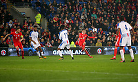 David Brooks of Wales crosses the ball during the international friendly soccer match between Wales and Panama at Cardiff City Stadium, Cardiff, Wales, UK. Tuesday 14 November 2017.