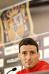 Spain's Aritz Aduriz in press conference during previous friendly match. May 31,2016.(ALTERPHOTOS/Acero)
