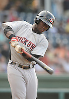 Infielder Odubel Herrera (2) of the Hickory Crawdads, Class A affiliate of the Texas Rangers, prior to a game against the Greenville Drive on July 1, 2011, at Fluor Field at the West End in Greenville, South Carolina. (Tom Priddy/Four Seam Images)