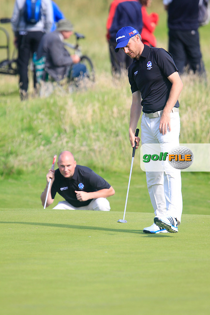 Barry Hume (SCO) and Matt Clarke (SCO)  during the Home Internationals day 2 foursomes matches supported by Fairstone Financial Management Ltd. at Royal Portrush Golf Club, Portrush, Co.Antrim, Ireland.  13/08/2015.<br /> Picture: Golffile | Fran Caffrey<br /> <br /> <br /> All photo usage must carry mandatory copyright credit (&copy; Golffile | Fran Caffrey)