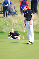 Barry Hume (SCO) and Matt Clarke (SCO)  during the Home Internationals day 2 foursomes matches supported by Fairstone Financial Management Ltd. at Royal Portrush Golf Club, Portrush, Co.Antrim, Ireland.  13/08/2015.<br /> Picture: Golffile   Fran Caffrey<br /> <br /> <br /> All photo usage must carry mandatory copyright credit (© Golffile   Fran Caffrey)