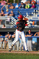 Batavia Muckdogs designated hitter Terry Bennett (33) at bat during a game against the Tri-City ValleyCats on July 15, 2017 at Dwyer Stadium in Batavia, New York.  Tri-City defeated Batavia 5-4.  (Mike Janes/Four Seam Images)