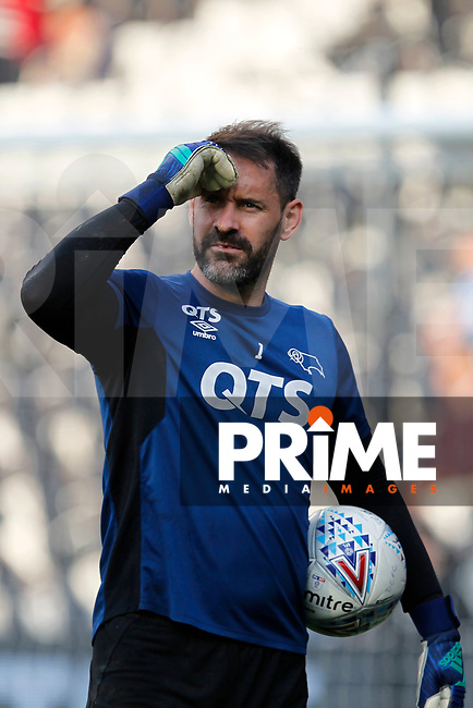 Scott Carson of Derby County during the Sky Bet Championship play off semi final 2nd leg match between Fulham and Derby County at Craven Cottage, London, England on 15 May 2018. Photo by Carlton Myrie / PRiME Media Images.