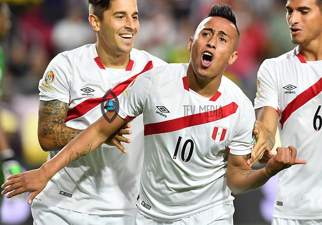 Peru forward Christian Cueva (10) celebrates his goal during first half of Copa America Centenario group B match, in Glendale, AZ. Wednesday, Jun 08, 2016. (TFV Media via AP) *Mandatory Credit*