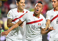 Peru forward Christian Cueva (10) celebrates his goal during first half of Copa America Centenario group B match, in Glendale, AZ. Wednesday, Jun 08, 2016. (TFV Media via AP) *Mandatory Credit*