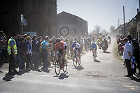 Jelle Wallays (BEL/Lotto-Soudal) leading the race over the first cobbled sector from Troisvilles to Inchy<br /> <br /> 115th Paris-Roubaix 2017 (1.UWT)<br /> One Day Race: Compiègne › Roubaix (257km)