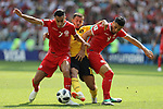 23rd June 2018, Spartak Stadium, Moscow,  Russia; FIFA World Cup Football, Group G, Belgium versus Tunisia; Saif-Eddine Khaoui, Eden Hazard, Wahbi Khazri