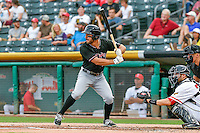 Mike Tauchman (18) of the Albuquerque Isotopes at bat against the Salt Lake Bees in Pacific Coast League action at Smith's Ballpark on August 29, 2016 in Salt Lake City, Utah. The Isotopes defeated the Bees 9-4.  (Stephen Smith/Four Seam Images)