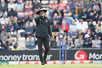 Kumar Sharmasena, Umpire signals two short balls in the over have been delivered during England vs West Indies, ICC World Cup Cricket at the Hampshire Bowl on 14th June 2019