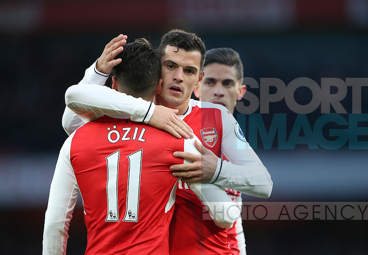 Arsenal's Granit Xhaka celebrates his sides second goal during the Premier League match at the Emirates Stadium, London. Picture date October 26th, 2016 Pic David Klein/Sportimage