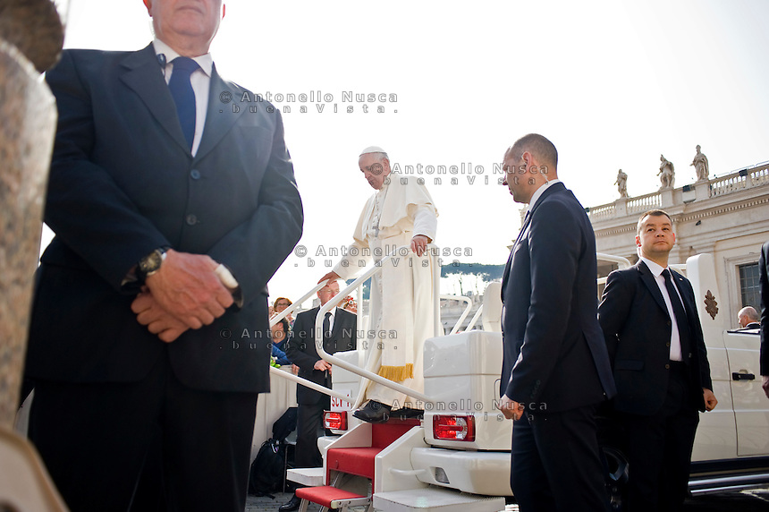 Vatican City, Vatican, April 13, 2016. Pope Francis arrives in St. Peter's Square at Vatican to hold his weekly general audience.