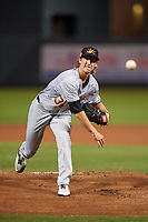 Mesa Solar Sox starting pitcher Daniel Gossett (34), of the Oakland Athletics organization, during an Arizona Fall League game against the Salt River Rafters on September 19, 2019 at Salt River Fields at Talking Stick in Scottsdale, Arizona. Salt River defeated Mesa 4-1. (Zachary Lucy/Four Seam Images)
