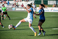 Kansas City, MO - Sunday May 07, 2017: Lo'eau Labonta, Marta Vieira Da Silva during a regular season National Women's Soccer League (NWSL) match between FC Kansas City and the Orlando Pride at Children's Mercy Victory Field.