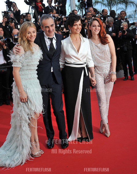 Juliette Binoche, Kristen Stewart, Chloe Grace Moretz &amp; director Olivier Assayas at gala premiere of their movie &quot;Clouds of Sils Maria&quot; at the 67th Festival de Cannes.<br /> May 23, 2014  Cannes, France<br /> Picture: Paul Smith / Featureflash