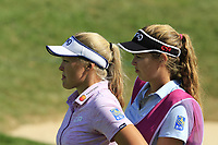 Brooke M. Henderson (USA) and sister on the 5th green during Thursday's Round 1 of The Evian Championship 2018, held at the Evian Resort Golf Club, Evian-les-Bains, France. 13th September 2018.<br /> Picture: Eoin Clarke | Golffile<br /> <br /> <br /> All photos usage must carry mandatory copyright credit (&copy; Golffile | Eoin Clarke)