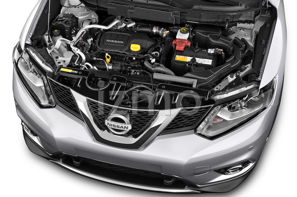 Car Stock 2014 Nissan X-TRAIL Tenka 5 Door SUV 2WD Engine high angle detail view