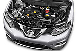 Car Stock 2014 Nissan X-TRAIL Tenka 5 Door SUV 2WD Engine high angle detail view