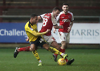 Oxford United's Jordan Graham battles with Fleetwood Town's Ryan Taylor<br /> <br /> Photographer Rich Linley/CameraSport<br /> <br /> The EFL Sky Bet League One - Fleetwood Town v Oxford United - Saturday 12th January 2019 - Highbury Stadium - Fleetwood<br /> <br /> World Copyright &copy; 2019 CameraSport. All rights reserved. 43 Linden Ave. Countesthorpe. Leicester. England. LE8 5PG - Tel: +44 (0) 116 277 4147 - admin@camerasport.com - www.camerasport.com