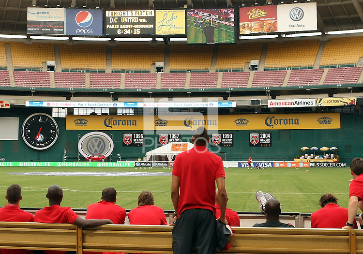 WASHINGTON, DC - July 28, 2012:  Players of PSG (Paris Saint-Germain) watch DC United highlight video before an international friendly match at RFK Stadium in Washington DC on July 28. The game ended in a 1-1 tie.