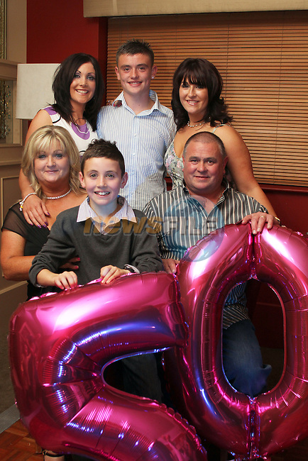 Therese Farrell with her husband John, daughters, Lisa and Laura and her grandson Jordan Smith at her birthday party in Harrys...Picture Jenny Matthews/Newsfile.ie
